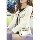 New Arrival Lace Trim Single Breasted Round Neck Long Sleeve Plain Coat