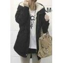 Women Zip Placket Fur Hooded Winter's Warm Cotton Coat