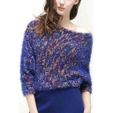 Fashion Cold Shoulder Batwing Sleeve Women's Boat Neck Pullover Sweater
