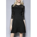 Fashion Lace Insert 3/4 Length Sleeve Plain Ruffle Hem Midi A-Line Dress