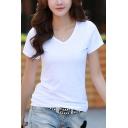 Women's Premium Basic Fitted Soft Short Sleeve V Neck T-Shirt