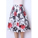 Women Pleated Vintage Skirts Floral Print A-Line Midi Skirt