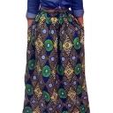 Women's African Print High Waist A-Line Pleated Maxi Skirt