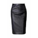 Womens Evening Solid Casual Dressy Office Knee Length Leather Pencil Skirt