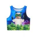Women 3D Digital Printed Crop Top Casual Vest Tank Tops