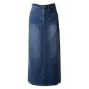 Womens Blue Stretch Back Split Long Pencil A Line Maxi Jean Denim Skirt
