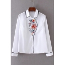 Floral Embroidery Long Sleeve Buttons Down Women's Basic Shirt