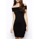 Women Short Sleeve Basic Off the Shoulder Bodycon Stretch Party Evening Dress