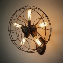 Wrought Iron Novelty 3 Lt Black Sconce Wall Light