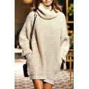 Women Turtle Neck Long Sleeve Loose Pockets Knitted Sweater Coat