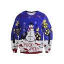 Unisex Funny Print Ugly Christmas Snowman Pullover Sweatshirt