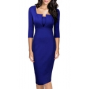 Fashion Square Neck 3/4 Sleeve Women's Midi Dress Pencil Dress