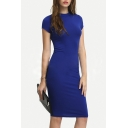 Women's Fashion Slim Round Neck Short Sleeve Plain Midi Bodycon Dress