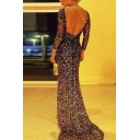 Women's Sexy Open Back Long Sleeve Sequined Print Bodycon Dress