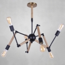 Atomic 6 Light Adjustable Chandelier in Wood Style