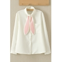 Women's Cute Rabbit Ear Tie Long Sleeve Buttons Down Casual Shirt