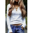 Women's Casual V Neck Striped Long Sleeve T-Shirt Tops