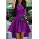 Women's Sleeveless High/Low Hem Plain Midi Asymmetric Dress