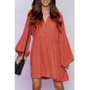 Fashion Plain Lantern Long Sleeve Midi Shirt Dress