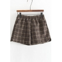 Fall Winter Plaid Elastic Waist Shorts with Pockets