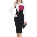 Fashion Color Block Patchwork Long Sleeve Round Neck Midi Bodycon Dress