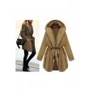 Womens Fluffy Faux Fur Winter Warm Hooded Coat Jacket Outerwear