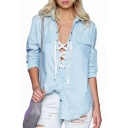 Fashion Lace-Up Front Women's Long Sleeve High Low Hem Blouse