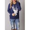 Fashion Hooded Deer Printed Long Sleeve Hoodie Sweatshirt