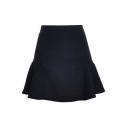 Women's High Rise Plain Skirt A-Line Ruffle Hem Mini Skirt