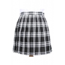 Women's High Rise Oversize Plaid Print Classic Mini A-Line Pleated Skirt