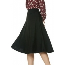 Stretch High Waist A-line Flared Long Skirt