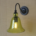 Industrial Black Metal Sconces 1 Light Glass Shade Wall Light