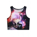 Women 3D Digital Printed Crop Top Casual Vest Tank Tops