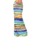 Women Fashion Multicolored Striped High Waisted Maxi Skirts Long Skirt