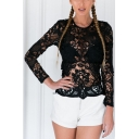 Sexy Cutout Lace Tied Back Long Sleeve Blouse Top