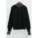 New Striped High Neck and Cuffs False Two-Pieces Pullover Sweatshirt