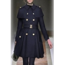 Chic Lapel Double Breasted Belt Waist Patchwork Plain Tunic Coat