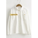 Fashion Ice Cream Letter Embroidery Long Sleeve Shirt with Pocket