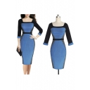 Fashion Striped Color Block Squared Neck Half Sleeve Zip-Back Midi Pencil Dress