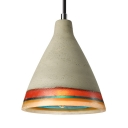 Rainbow Style Cement and Resin Pendant with Cone Shade