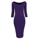 Womens Classic Slim Fit Bodycon Midi Dress