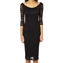 Lace Boat Neckline Midi Dress 2/3 Sleeves Bodycon Evening Dress