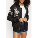 Fashion Stand-Up Collar Embroidery Phoenix Pattern Zipper Placket Bomber Jacket