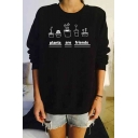 Letter Graphic Print Long Sleeve Round Neck Women's Pullover Sweatshirt