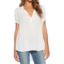 Women Chiffon Blouse V Neck Short Sleeve Top Shirts