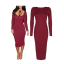 Women's Fashion Scoop Neck Long Sleeve Midi Plain Bodycon Dress