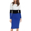 Women's Long Sleeve Boat Neck Color Block Midi Pencil Dress