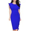 Fashion Bell Short Sleeve Ruffle Hem Plain Midi Party Dress