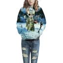 Unisex Simulation Printing Galaxy Cartoon Pocket Hooded Sweatshirt