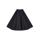 Women's Fashion High Waist Solid Color A-Line Pleated Midi Skirt
